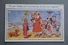R&L Postcard: Comic, Woman with Dog, Seaside Large Family Andrew & Amanda