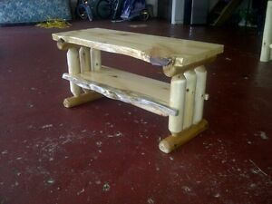 Rustic Log pine and cedar TV stand entertainment center cabin furniture