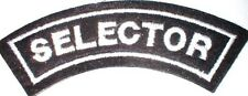 SELECTOR   arm flash   sew on embroidered patch, BLACK, 2 tone, ska