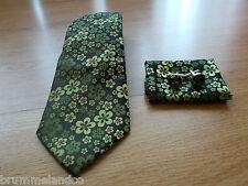 Cravate en soie noir & vert fleuri NEUVE + boutons de manchette + pochette