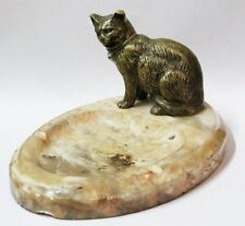 Interesting old bronze cat & alabaster ashtray