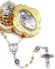 NEW MADE IN ITALY POPE FRANCIS GOLD METAL ROSEBUD BEAD ROSARY SET VEDELE CROSS