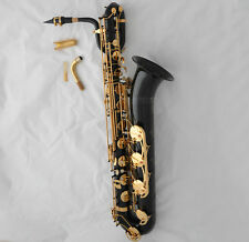Professional Black Eb Baritone saxophone Low A High F# Sax + 2 Neck canvas Case