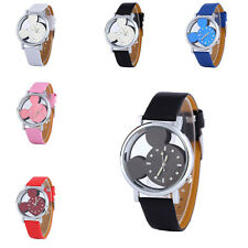 6Color Cute Women Watch Mickey Shape Transparent Hollow Dial Leather Dress Watch