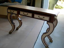 Maitland Smith Knights Bridge Finished Chamois Leather Inlay Console Table Desk