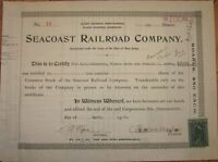 Seacoast Railroad Company 1901 Stock Certificate - New Jersey NJ, Number #19