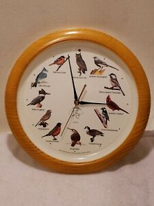 National Audubon Society Quartz Faux Wood Frame Singing Bird Analog Clock 13""