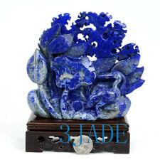 Hand Carved Natural Lapis Lazuli Heron Bird Sculpture / Gemstone Carving