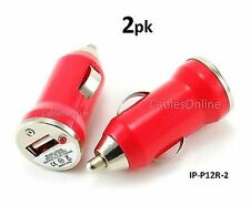 2-PACK Red USB Mini Car Charger 1000mA Travel Adapter, Great Gift, IP-P12R-2