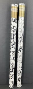 Christmas Ornaments Pearlized Finish Flocked Black white Holiday Wrapping Paper