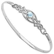 LADIES STERLING SILVER BLUE TOPAZ CLIP BANGLE  ANNIVERSARY MOTHERS DAY GIFT