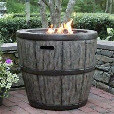 "Wine Barrel  27"" Gas Fire Pit with Concrete Base & table top lip for outdoor"