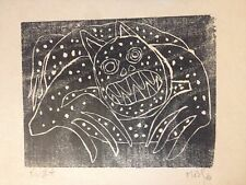 Martin Puryear Style Mid Century Modernist Woodblock Print African American? Wow