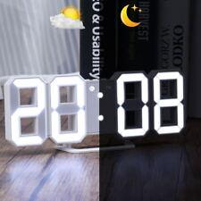 LED 3D Wall Clock Modern Table Alarm 12/24 Hour Display Snooze Decor Rechargable