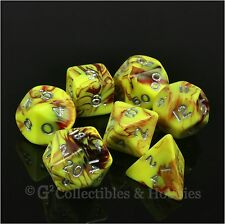 NEW 7pc Toxic Yellow Red w/ Silver Numbers RPG D&D Game 7 Dice Set Crystal Caste