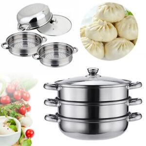 3Tier Stainless Steel Steamer Steam Pot Cooker Pan Hot Pot Home Kitchen Cookware