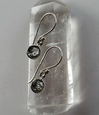 278180a09 315g Rutilated Quartz Black Tourmaline Solid 925 Sterling Silver earring  rrp$34