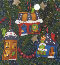 Felt Embroidery Kit ~ Dimensions Holiday Homes Christmas Ornaments #72-08182