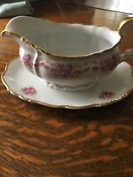 Grace  China Dresden Rose Gravy Boat with attached underplate Vintage