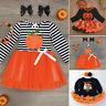 2PCS Toddler Baby Girl Kid Halloween Cute Pumpkin Long Sleeve Dress Headband Set