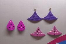 Lot (3 pair) Vintage PURPLE ENAMEL Earrings - Funky 1980s