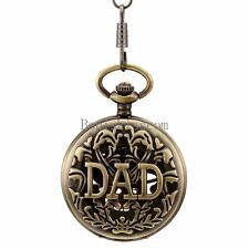 Antique Mechanical DAD Pendant Quartz Pocket Watch Necklace  Father's Day Gift