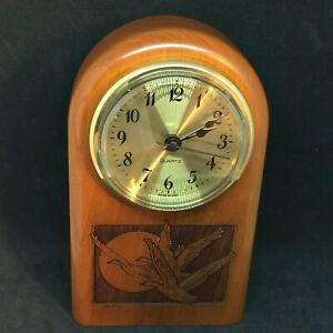 Geese In Flight~Small Cherrywood Analog Desk Clock~NIB~Signed~Gift Idea!
