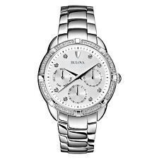 Bulova Women's 96R195 Quartz Diamond Accents Silver-Tone Bracelet 36mm Watch