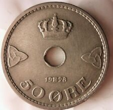 1928 NORWAY 50 ORE - Less Common Date - FREE SHIPPING - Norway Bin #3