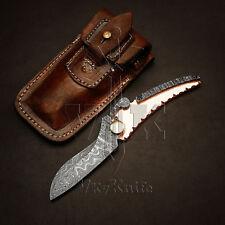 Handmade Damascus Steel Pocket Folding Knife Easy Lock Copper Handle VK2144