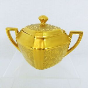 Square Sugar Bowl with Lid Gold Encrusted Rose and Daisy Pattern 1282 Vintage