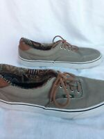 Vans White Brown Canvas Low Top Lace Up Sneakers Skater Shoes Men's size 11