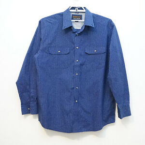 ARIAT PRO SERIES XL Men's Western Long Sleeve Button Shirt Plaid Blue