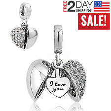 Pandora Charms Bracelet I Love You Heart Bead Women Valentine's Gift