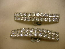 "Vintage Shoe Clip Buckles Clear Rhinestones Ornate Shoe Decorations 2"" Long"