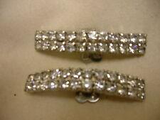 "Vintage Shoe Clip Buckles Clear Rhinestones Ornate Shoe Decorations 2"" Long"