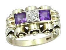 Ring Retro Amethyste Diamant 585er Gelbgold ca. 1940-50