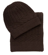 $79.50 New Jos A Bank wool blend Knit Scarf and Hat set in Brown FREE SHIPPING