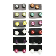 12 Pairs/Set Women Milti-Color Elegant Party Beauty Pearl Round Ear Stud Earring