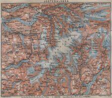 Jostedalsbreen Glacier. Stryn Alhus Re Olden Loen. Topo-map. Norway 1912