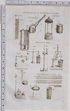 1788 ANTIQUE PRINT hydraulique hydrostatique hongrois machine hydropneumatique Hiero's