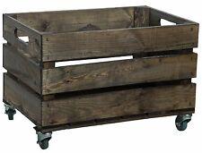 Estable OSCURO caja de fruta con ruedas Vino Madera manzana