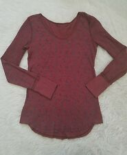 We The Free Free People Floral Scoop Neck Thermal Distressed Long Sleeve Small