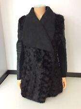 River Island Black Faux Leather Coat Jacket Size 34 Uk 8 Wrap Over