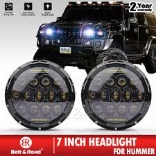 Black Round 7'' LED Headlight For Hummer H1 H2 Lamp & Jeep Wrangler JK TJ x2