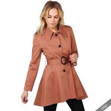 Damen Trenchcoat Mantel Parka Elegante Lange Jacke Klassischer Schnitt Baumwolle