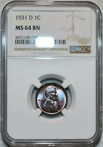 NGC MS-64 BN 1931-D Lincoln Cent, Attractively toned specimen.