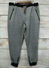 Galaxy Joggers Mens 5XL SKINNY Fit Heather Grey Zipper Bottom Pants New
