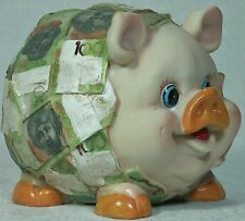 Piggy bank with $100 notes Money Box Poly resin PIGMB100 9319844289351 New 14cm
