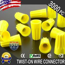 (3000) Yellow Twist-On Wire GARD Connector Conical nuts 18-12 Gauge Barrel Screw